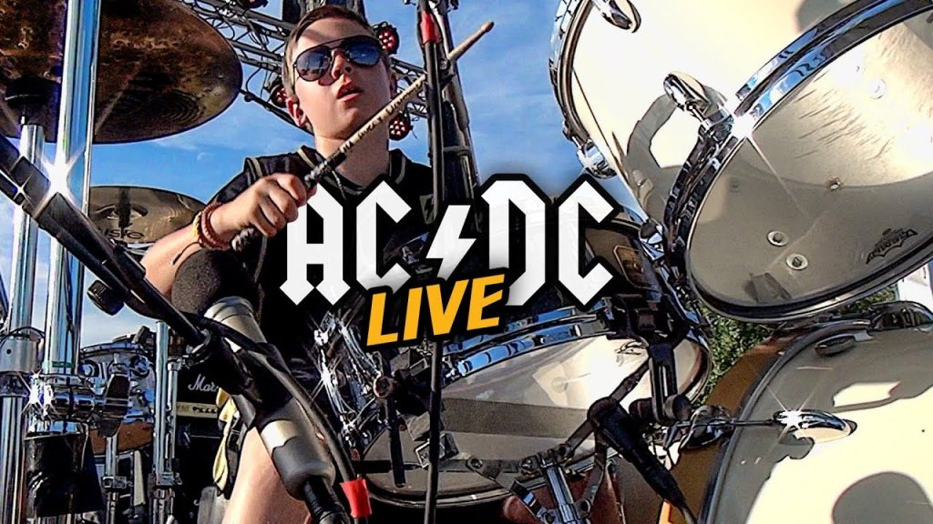 Avery Molek playing live with AC/DC cover band